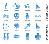 set of 16 icons such as female... | Shutterstock .eps vector #1100599034