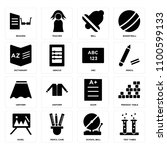 set of 16 icons such as test...