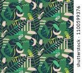jungle pattern. green abstract... | Shutterstock .eps vector #1100599376