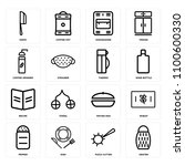 set of 16 icons such as grater  ...