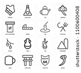 set of 16 icons such as snake ...