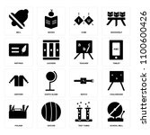 set of 16 icons such as school...