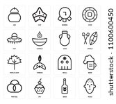 set of 16 icons such as mask ...