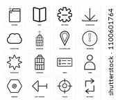 set of 16 icons such as retweet ...