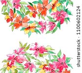 greeting card with watercolor... | Shutterstock . vector #1100602124