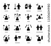 set of 16 icons such as diver ...