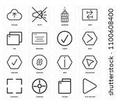 set of 16 icons such as play...