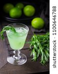 bright green lemonade with... | Shutterstock . vector #1100646788