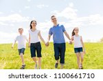 family of four outdoors in a... | Shutterstock . vector #1100661710