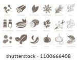 fragrant spices linear icons... | Shutterstock .eps vector #1100666408