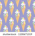 seamless pattern with cute... | Shutterstock .eps vector #1100671319