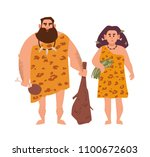 pair of primitive archaic man... | Shutterstock .eps vector #1100672603