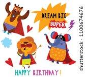 birthday card with cartoon...   Shutterstock .eps vector #1100674676