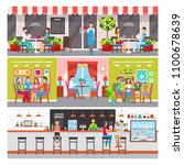 modern cafe or bar interior and ...   Shutterstock .eps vector #1100678639