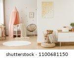 gold poster in kid's open space ... | Shutterstock . vector #1100681150