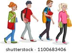 teenagers students walking.... | Shutterstock .eps vector #1100683406