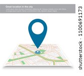 pin on the map | Shutterstock .eps vector #1100691173