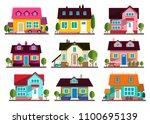 family house. vector flat... | Shutterstock .eps vector #1100695139