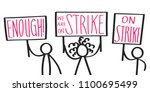 protesting cartoon stick... | Shutterstock .eps vector #1100695499