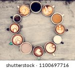 aerial view of various coffee   Shutterstock . vector #1100697716