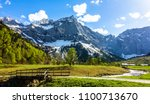 karwendel mountains in austria  ... | Shutterstock . vector #1100713670