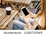 close up white smartphone...   Shutterstock . vector #1100715569