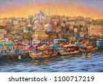artwork. evening in istanbul.... | Shutterstock . vector #1100717219