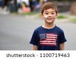 Happy Boy Painted American Flag ...