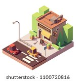 vector isometric cheese shop or ... | Shutterstock .eps vector #1100720816