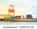 container ship in export and... | Shutterstock . vector #1100724110