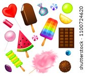 realistic sweet candies set.... | Shutterstock .eps vector #1100724620