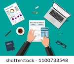 accountant with report and a... | Shutterstock .eps vector #1100733548