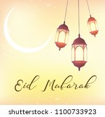 eid mubarak greeting background ... | Shutterstock . vector #1100733923