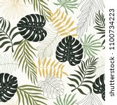 tropical background with palm... | Shutterstock .eps vector #1100734223