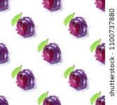 plum fruit drawing seamless... | Shutterstock .eps vector #1100737880