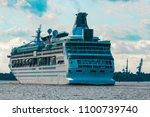 luxury cruise liner underway.... | Shutterstock . vector #1100739740