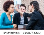 optician showing woman new... | Shutterstock . vector #1100745230