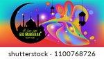 eid mubarak greeting card... | Shutterstock .eps vector #1100768726