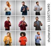 group of mixed people  women... | Shutterstock . vector #1100776490