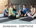 men and women in sportswear...   Shutterstock . vector #1100776763