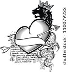 heraldic heart tattoo in vector ... | Shutterstock .eps vector #110079233