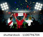 group of supporter hold peru... | Shutterstock .eps vector #1100796704