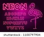 80 s purple neon retro font and ... | Shutterstock .eps vector #1100797904