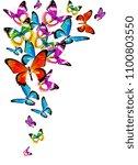 beautiful color butterflies set ... | Shutterstock .eps vector #1100803550