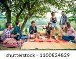 group of friends making... | Shutterstock . vector #1100824829
