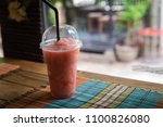 strawberry smoothie in glass ... | Shutterstock . vector #1100826080