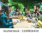group of happy people doing... | Shutterstock . vector #1100826410