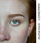 half of woman face with green... | Shutterstock . vector #1100829890