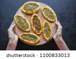 scones with zatar. manakish... | Shutterstock . vector #1100833013