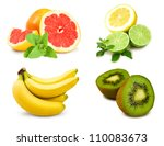 collage of tropical fruits on a ... | Shutterstock . vector #110083673